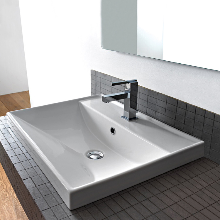 Bathroom Sink, Scarabeo 3001, Square White Ceramic Drop In or Wall Mounted Bathroom Sink