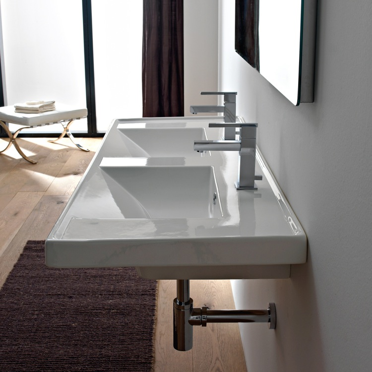 Bathroom Sink, Scarabeo 3006-Two Hole, Rectangular Double White Ceramic Drop In or Wall Mounted Bathroom Sink