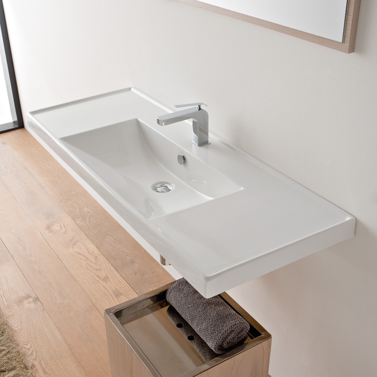 Bathroom Sink, Scarabeo 3007-One Hole, Rectangular White Ceramic Drop In or Wall Mounted Bathroom Sink