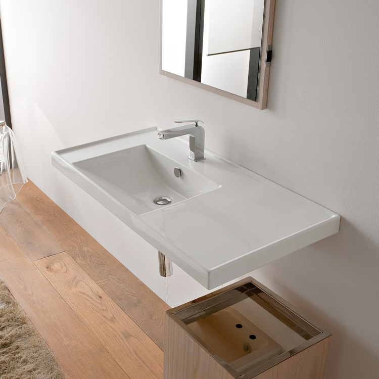 Bathroom Sink, Scarabeo 3008, Rectangular White Ceramic Drop In Or Wall  Mounted Bathroom Sink