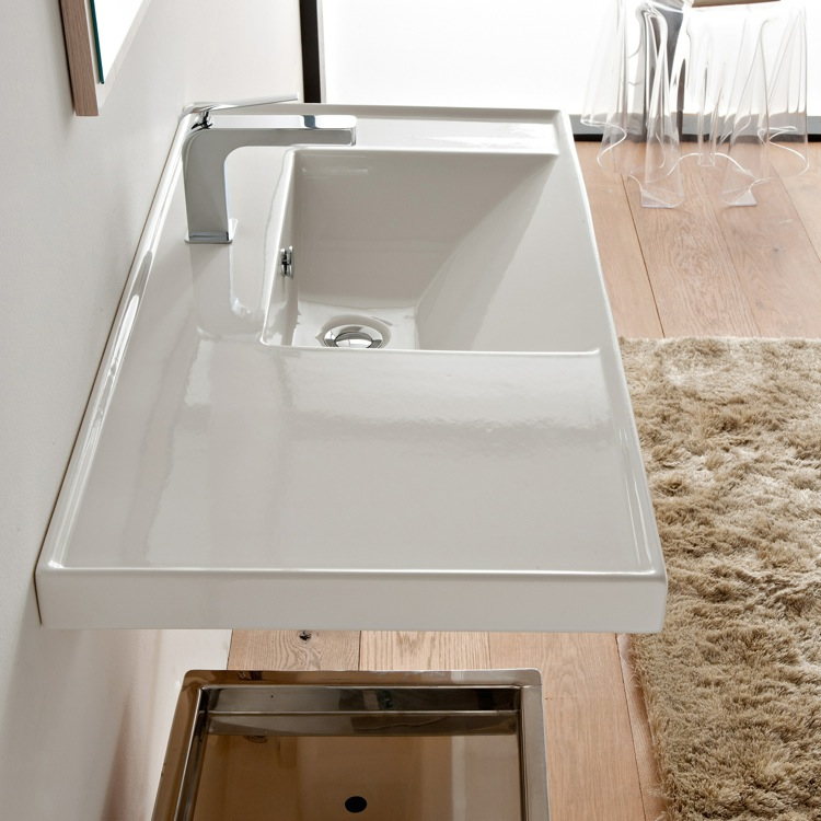 Bathroom Sink, Scarabeo 3009-One Hole, Rectangular White Ceramic Drop In or Wall Mounted Bathroom Sink