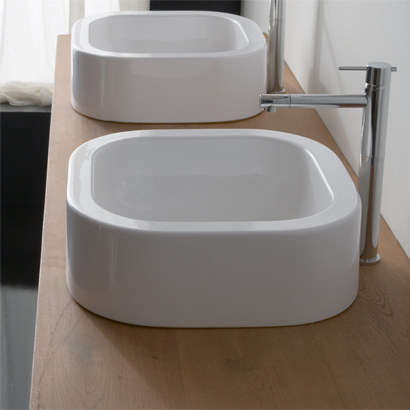 Bathroom Sink, Scarabeo 8306-No Hole, Curved White Ceramic Vessel Bathroom Sink