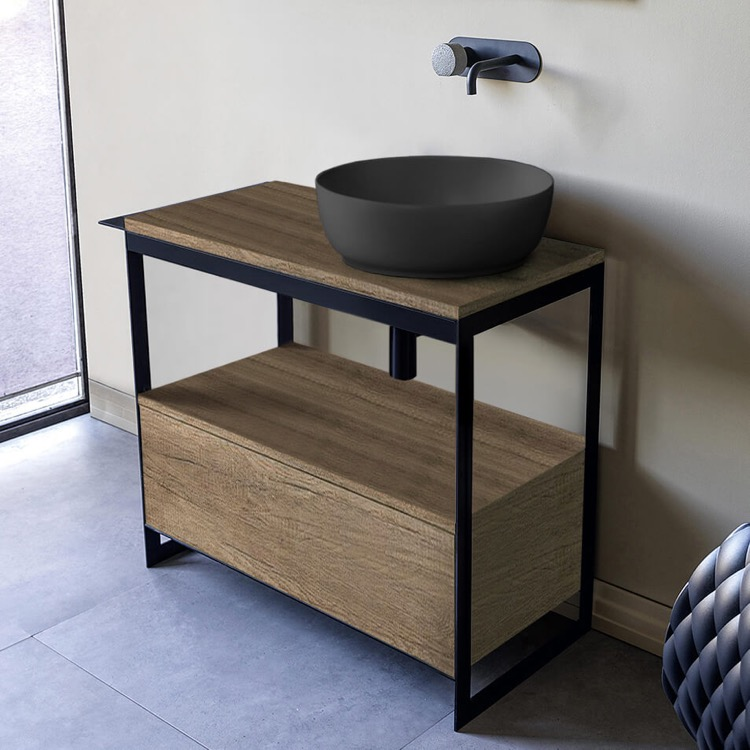Console Bathroom Vanity, Scarabeo 1807-49-SOL3-89-No Hole, Console Sink Vanity With Matte Black Vessel Sink and Natural Brown Oak Drawer