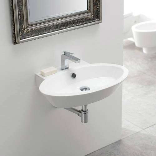 Bathroom Sink, Scarabeo 2003-One Hole, Oval Shaped White Ceramic Wall Mounted or Vessel Bathroom Sink
