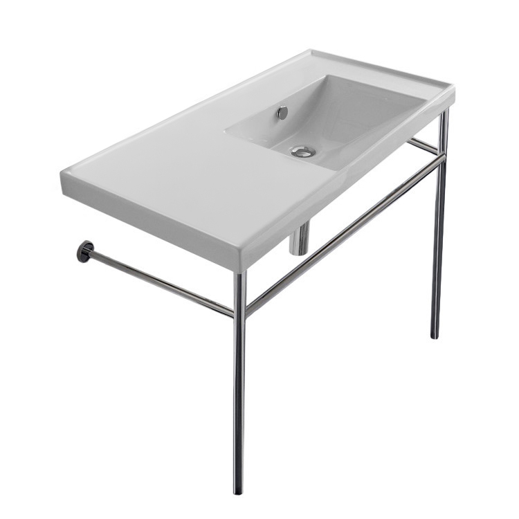 Bathroom Sink, Scarabeo 3009-CON-No Hole, Rectangular Ceramic Console Sink and Polished Chrome Stand