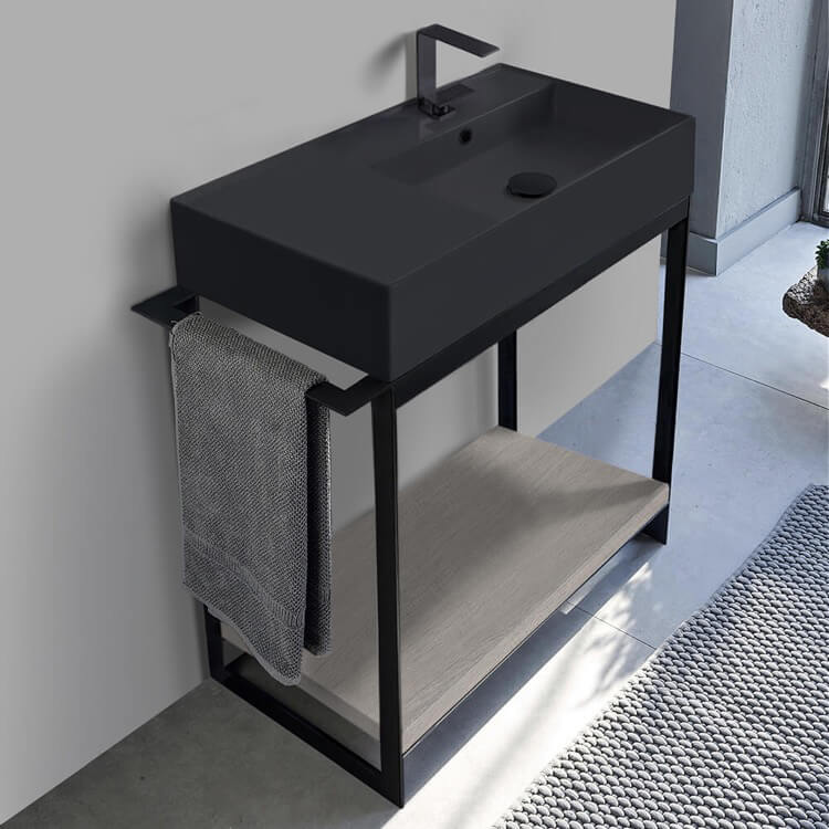 Console Bathroom Vanity, Scarabeo 5118-49-SOL2-88-One Hole, Console Sink Vanity With Matte Black Ceramic Sink and Grey Oak Shelf