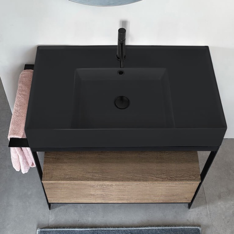 Scarabeo 5123 49 Sol1 89 By Nameek S Solid Console Sink Vanity With Matte Black Ceramic Sink And Natural Brown Oak Drawer Thebathoutlet