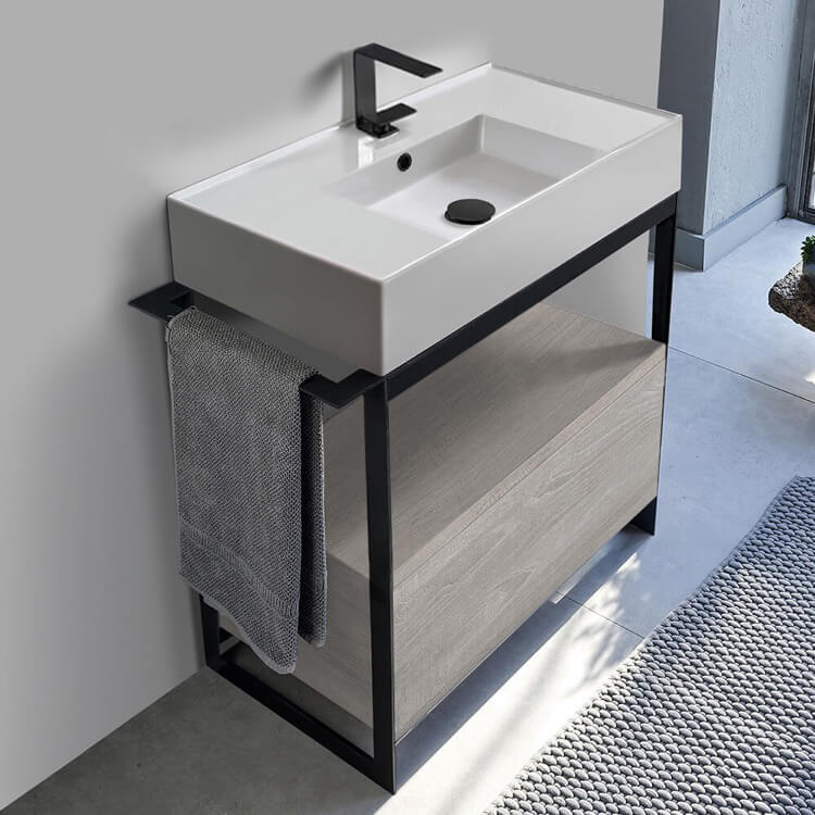 Scarabeo 5123 Sol1 88 By Nameek S Solid Console Sink Vanity With Ceramic Sink And Grey Oak Drawer Thebathoutlet