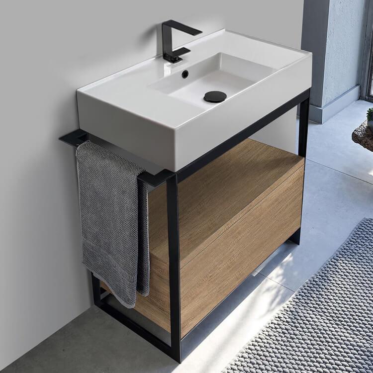 Console Sink Vanity With Ceramic, Bathroom Vanity Freestanding Sink