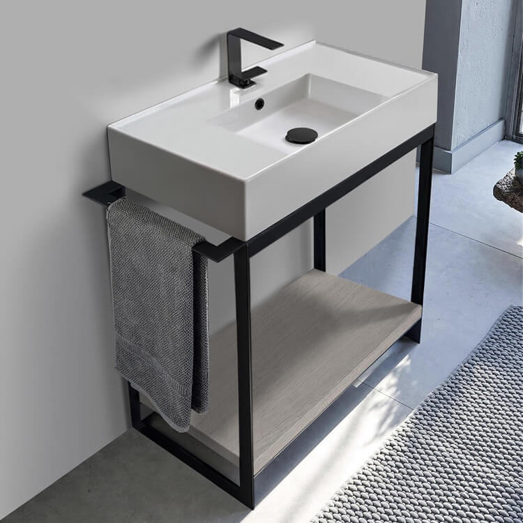Console Bathroom Vanity, Scarabeo 5123-SOL2-88-One Hole, Console Sink Vanity With Ceramic Sink and Grey Oak Shelf