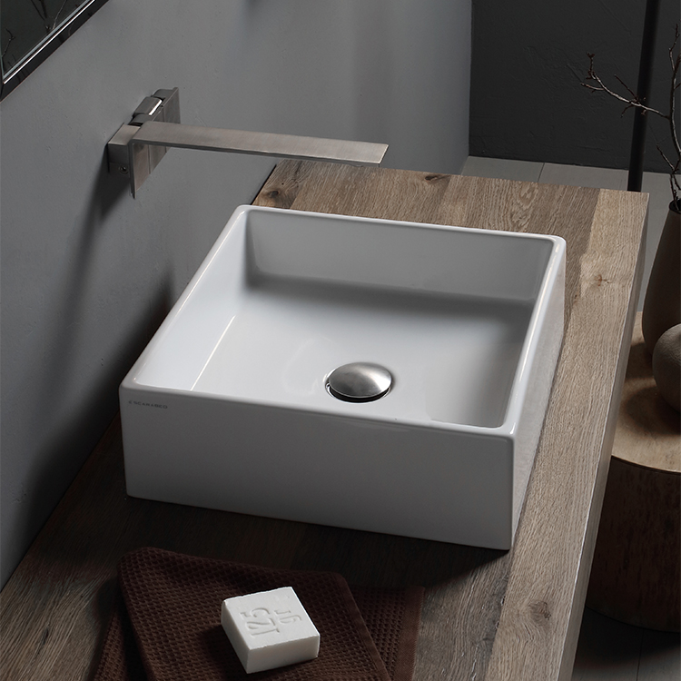 Bathroom Sink, Scarabeo 8031-No Hole, Square White Ceramic Vessel Sink