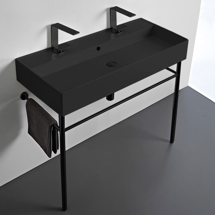 Bathroom Sink, Scarabeo 8031/R-100B-49-CON-BLK-Two Hole, Double Matte Black Ceramic Console Sink and Matte Black Stand