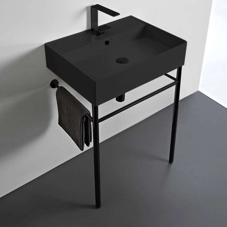 Bathroom Sink, Scarabeo 8031/R-60-49-CON-BLK-One Hole, Matte Black Ceramic Console Sink and Matte Black Stand