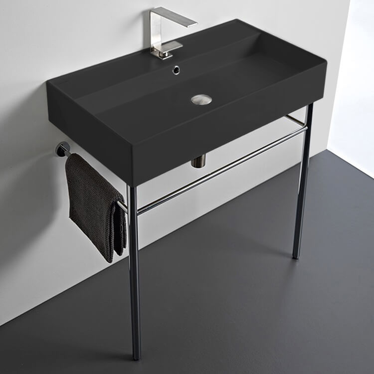 Bathroom Sink, Scarabeo 8031/R-80-49-CON-One Hole, Matte Black Ceramic Console Sink and Polished Chrome Stand