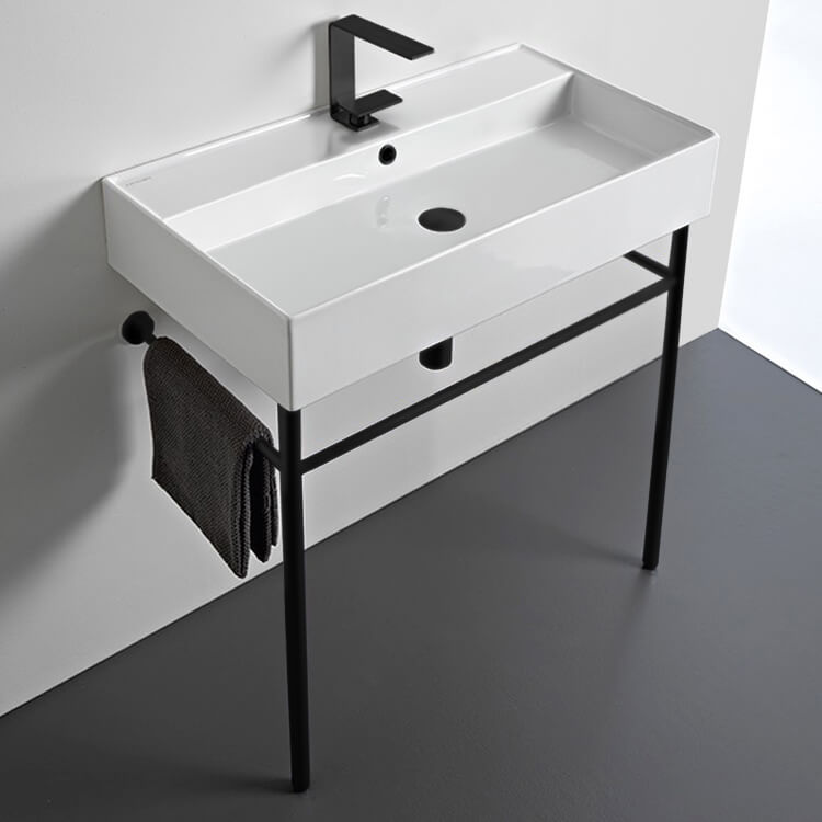 Bathroom Sink, Scarabeo 8031/R-80-CON-BLK-One Hole, Ceramic Console Sink and Matte Black Stand