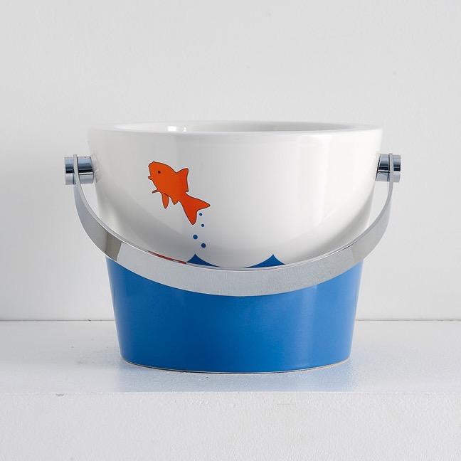Bathroom Sink, Scarabeo 8801-R, Bucket Bathroom Sink with Fish design