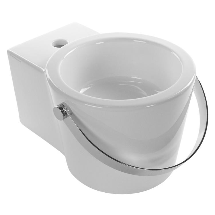 Bucket Vessel Sink : ... Bucket Round White Ceramic Wall Mounted or Vessel Bathroom Sink 8802