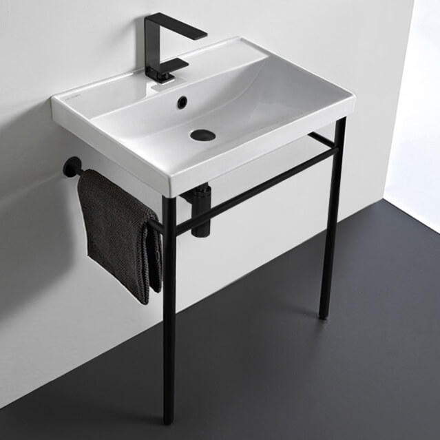Bathroom Sink, Scarabeo 3004-CON-BLK-One Hole, Ceramic Console Sink and Matte Black Stand