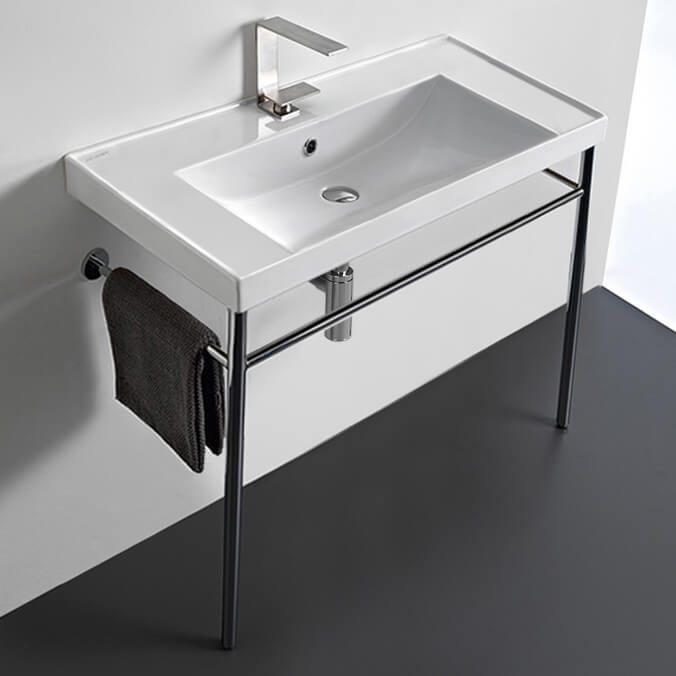 Bathroom Sink, Scarabeo 3005-CON-No Hole, Rectangular Ceramic Console Sink and Polished Chrome Stand