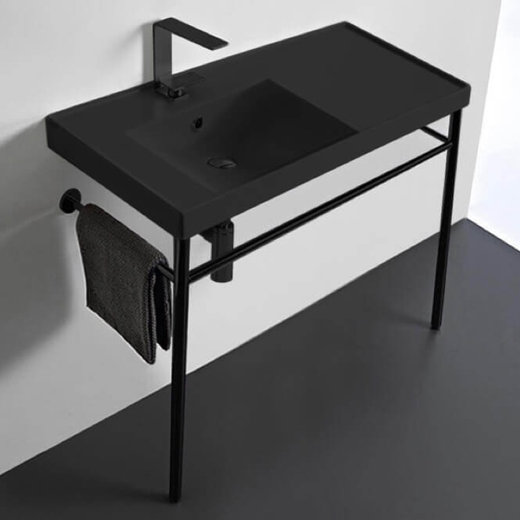 Bathroom Sink, Scarabeo 3008-49-CON-BLK-One Hole, Matte Black Ceramic Console Sink and Matte Black Stand
