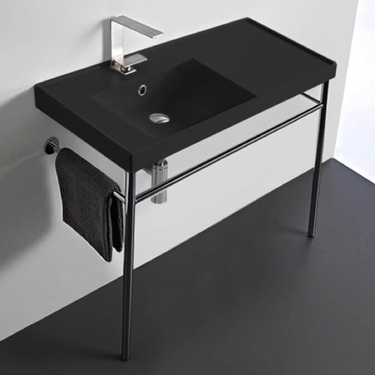 Bathroom Sink, Scarabeo 3008-49-CON-One Hole, Matte Black Ceramic Console Sink and Polished Chrome Stand