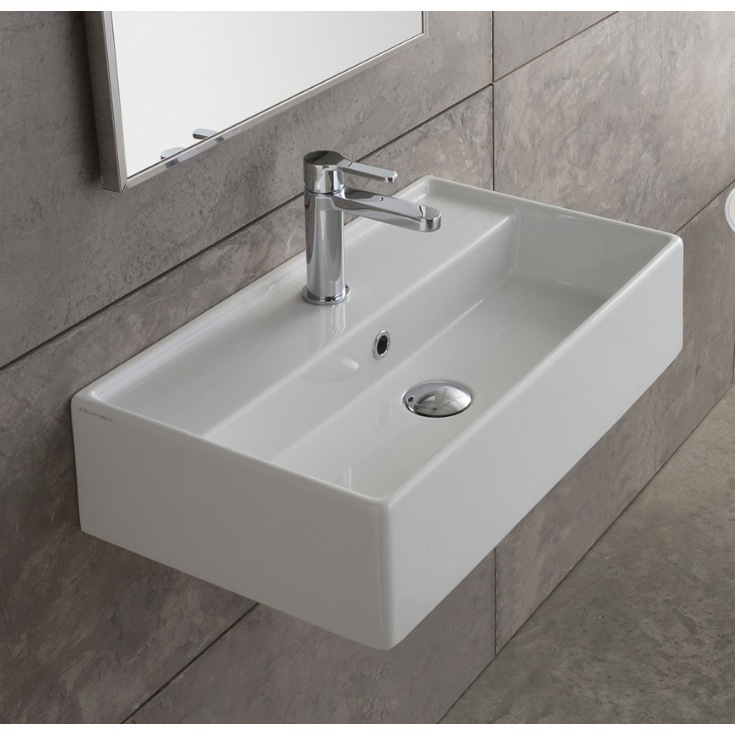 ... Sink, Scarabeo 5001, Rectangular White Ceramic Wall Mounted or Vessel