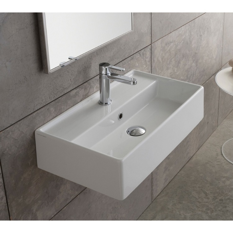 Sink Attached To Wall : Bathroom Sink, Scarabeo 5002, Rectangular White Ceramic Wall Mounted ...