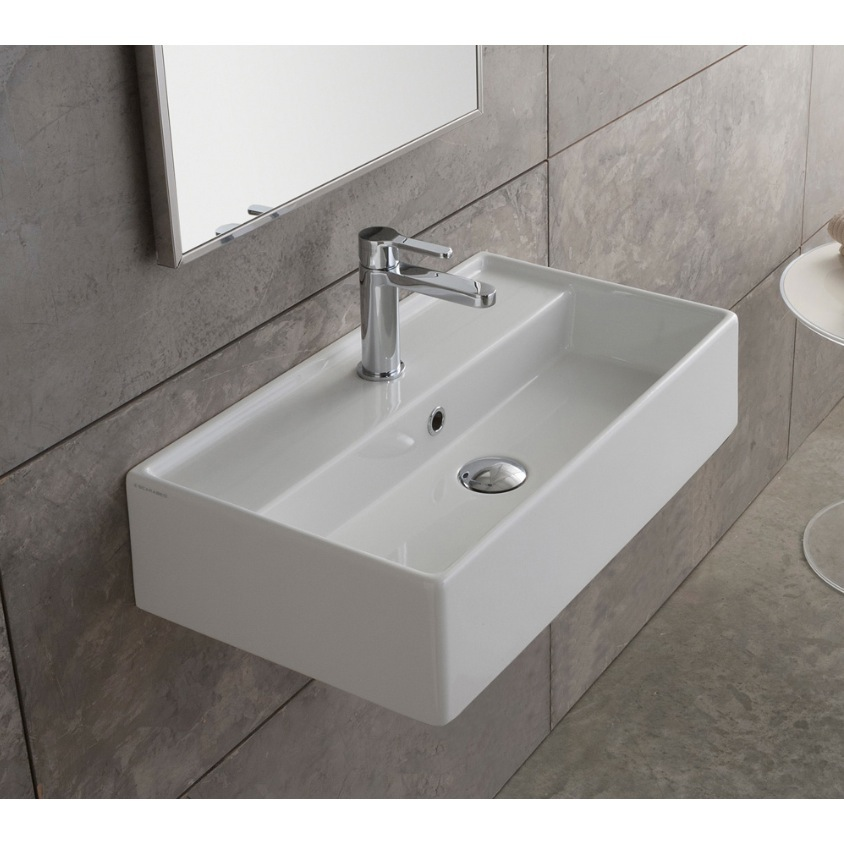 ... Sink, Scarabeo 5003, Rectangular White Ceramic Wall Mounted or Vessel