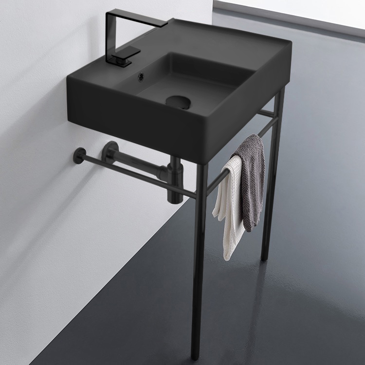 Bathroom Sink, Scarabeo 5114-49-CON-BLK-One Hole, Matte Black Ceramic Console Sink and Matte Black Stand