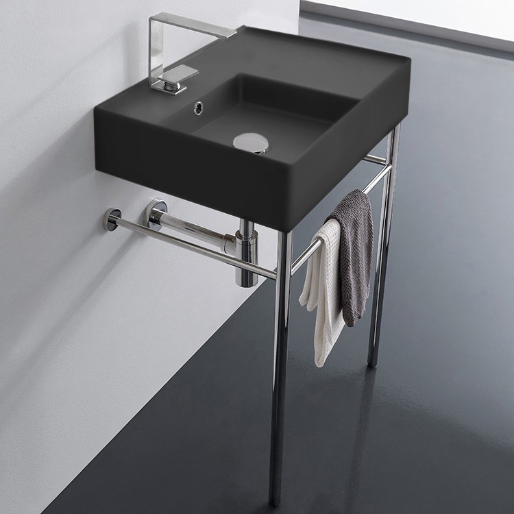 Bathroom Sink, Scarabeo 5114-49-CON-One Hole, Matte Black Ceramic Console Sink and Polished Chrome Stand