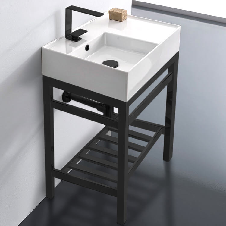 Bathroom Sink, Scarabeo 5114-CON2-BLK-One Hole, Modern Ceramic Console Sink With Counter Space and Matte Black Base