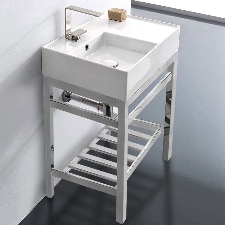 Bathroom Sink, Scarabeo 5114-CON2-One Hole, Modern Ceramic Console Sink With Counter Space and Chrome Base