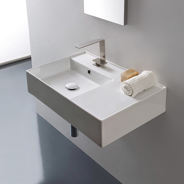 Bathroom Sink, Scarabeo 5114, Rectangular Ceramic Wall Mounted or Vessel Sink With Counter Space