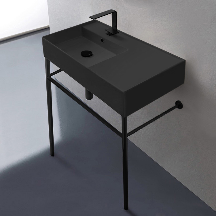 Bathroom Sink, Scarabeo 5115-49-CON-BLK-One Hole, Matte Black Ceramic Console Sink and Matte Black Stand