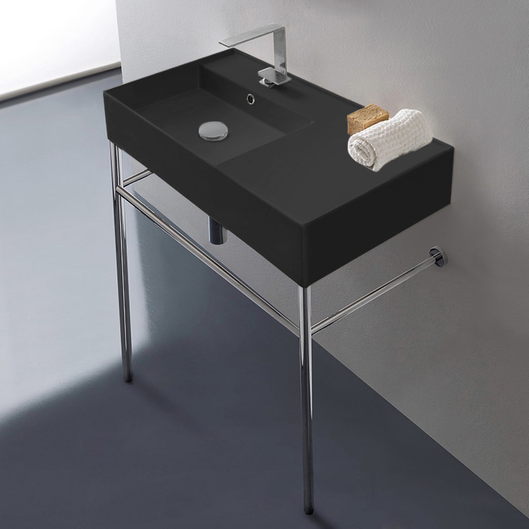Bathroom Sink, Scarabeo 5115-49-CON-One Hole, Matte Black Ceramic Console Sink and Polished Chrome Stand