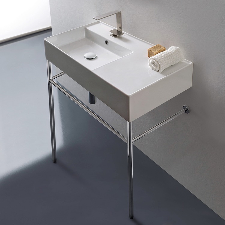 Bathroom Sink Rectangular Ceramic Console Sink And Polished Chrome Stand  Scarabeo 5115 CON