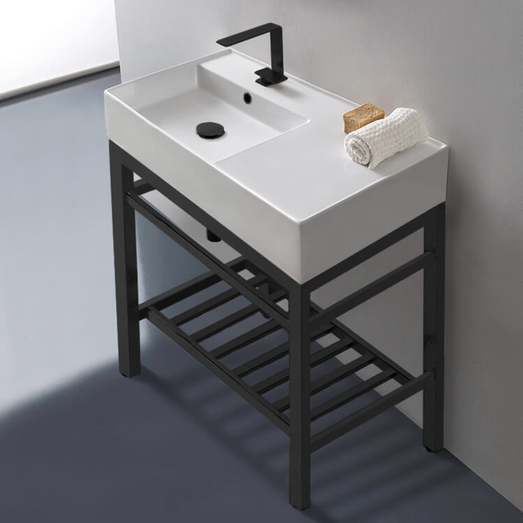 Scarabeo 5115 Con2 Blk By Nameek S, Bathroom Sink And Countertop