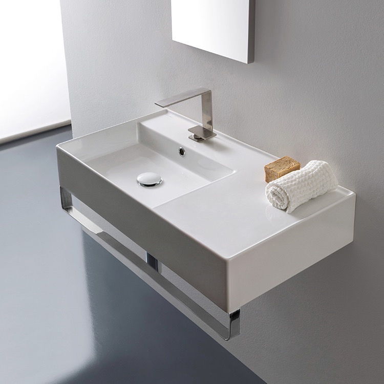 Bathroom Sink, Scarabeo 5115 TB, Rectangular Ceramic Wall Mounted Sink With  Counter Space