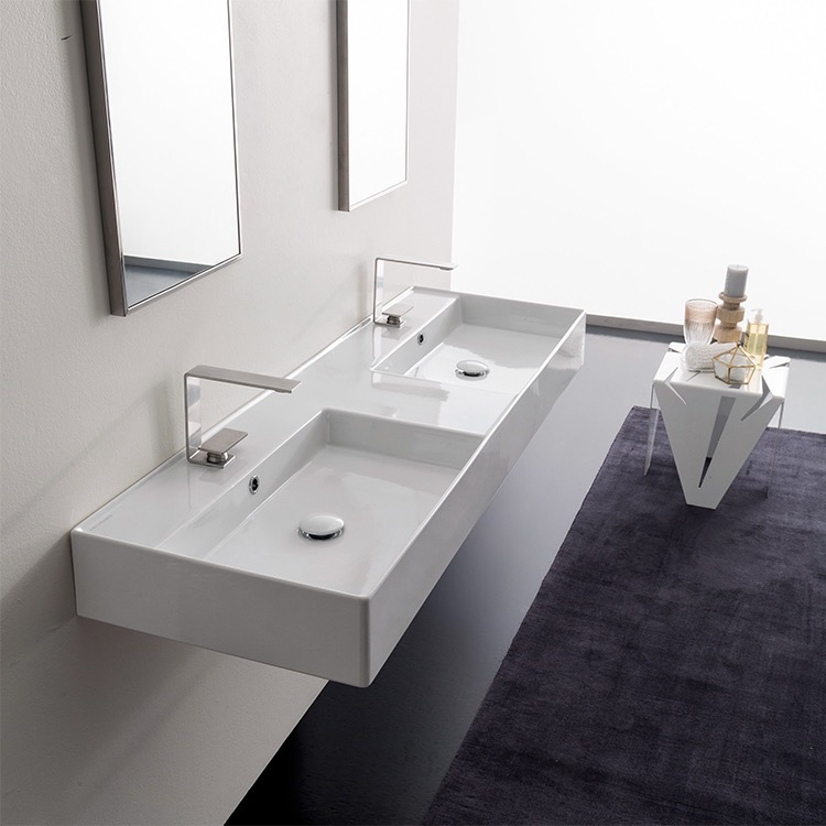 Bathroom Sink, Scarabeo 5116-Two Hole, Double Rectangular Ceramic Wall Mounted or Vessel Sink With Counter Space
