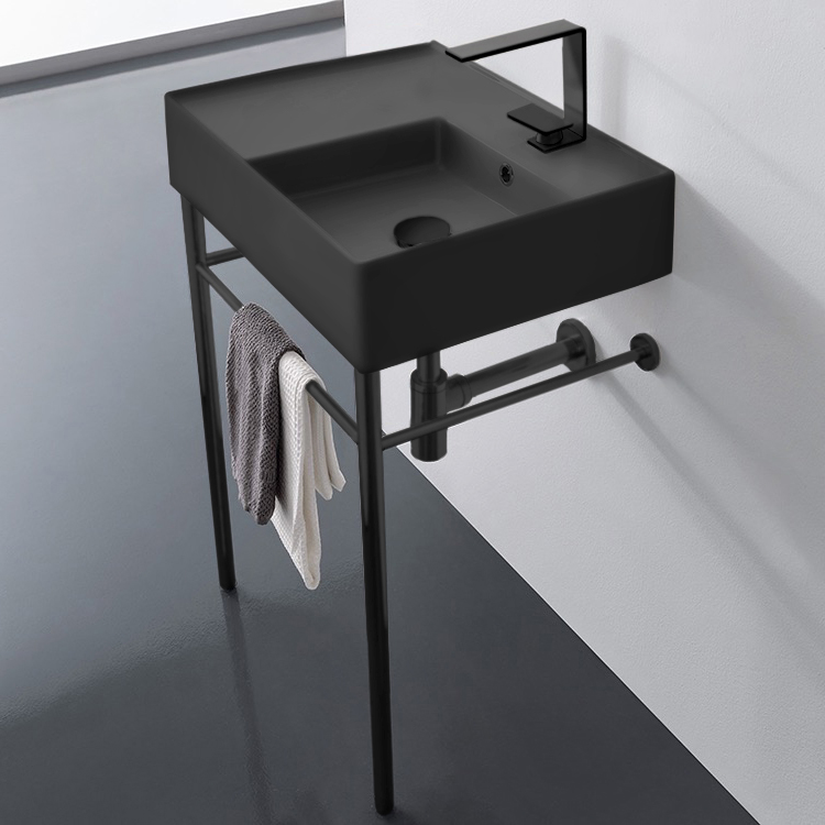 Bathroom Sink, Scarabeo 5117-49-CON-BLK-One Hole, Matte Black Ceramic Console Sink and Matte Black Stand