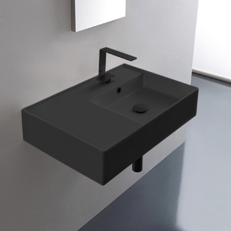 Bathroom Sink, Scarabeo 5117-49-One Hole, Matte Black Ceramic Wall Mounted or Vessel Sink With Counter Space