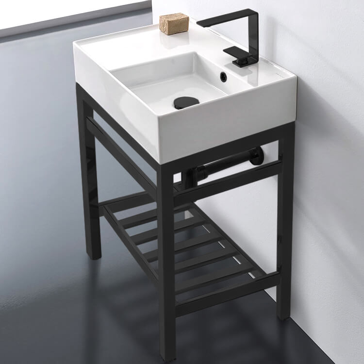 Bathroom Sink, Scarabeo 5117-CON2-BLK-One Hole, Modern Ceramic Console Sink With Counter Space and Matte Black Base