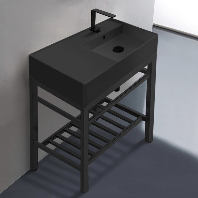 Bathroom Sink, Scarabeo 5118-49-CON2-BLK-One Hole, Modern Matte Black Ceramic Console Sink and Matte Black Base