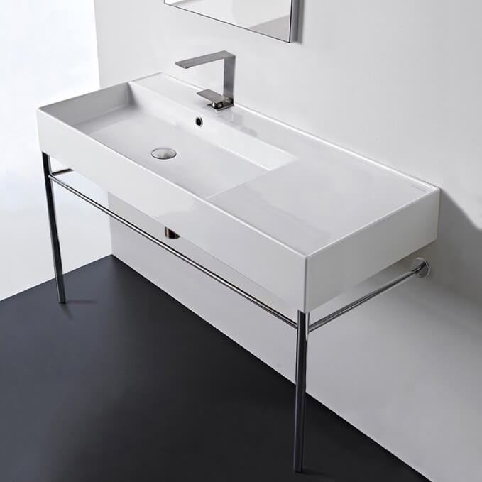 Bathroom Sink, Scarabeo 5119-CON-One Hole, Rectangular Ceramic Console Sink and Polished Chrome Stand