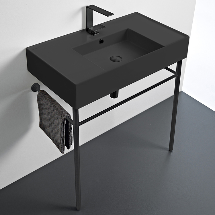 Bathroom Sink, Scarabeo 5123-49-CON-BLK-One Hole, Matte Black Ceramic Console Sink and Matte Black Stand
