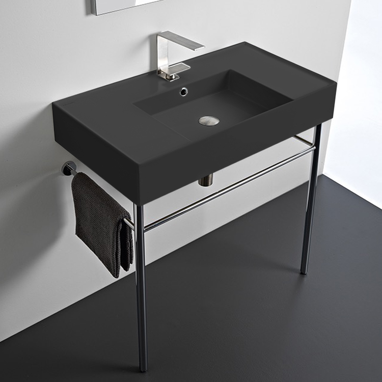 Bathroom Sink, Scarabeo 5123-49-CON-One Hole, Matte Black Ceramic Console Sink and Polished Chrome Stand
