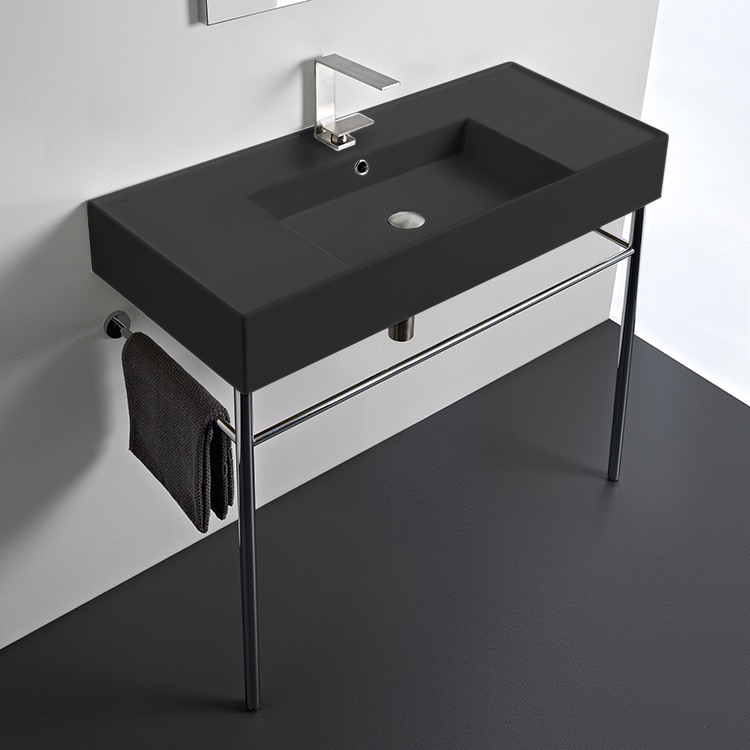 Bathroom Sink, Scarabeo 5124-49-CON-One Hole, Matte Black Ceramic Console Sink and Polished Chrome Stand