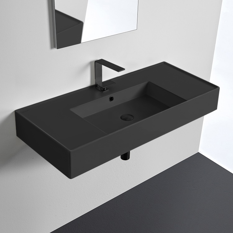Bathroom Sink, Scarabeo 5124-49-One Hole, Matte Black Ceramic Wall Mounted or Vessel Sink With Counter Space