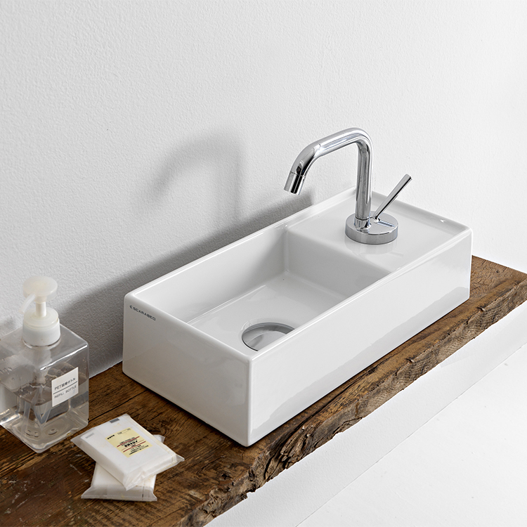 Bathroom Sink, Scarabeo 5129-One Hole, Rectangular Small White Ceramic Vessel Sink