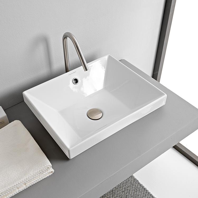 Scarabeo 5130 By Nameek S Teorema 2 Rectangular White Ceramic Drop In Sink Thebathoutlet